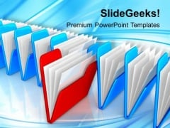 Row Of File Folders Computer PowerPoint Templates Ppt Backgrounds For Slides 0213