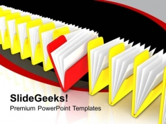 Row Of File Folders Yellow And Red PowerPoint Templates Ppt Backgrounds For Slides 0213