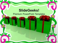 Row Of Gift Boxes With Red Wrappings Holidays PowerPoint Templates Ppt Backgrounds For Slides 1112