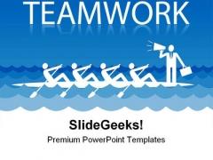 Rowing Team People Teamwork PowerPoint Template 1110