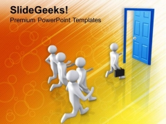 Run Towards The Door Of Opportunity PowerPoint Templates Ppt Backgrounds For Slides 0713