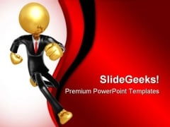 Running Businessman Business PowerPoint Templates And PowerPoint Backgrounds 0511