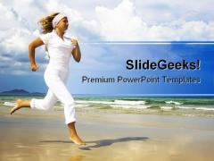 Running On Beach Health PowerPoint Template 1110
