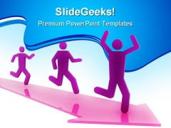 Running People Success PowerPoint Themes And PowerPoint Slides 0811