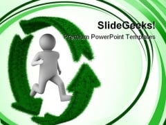 Running Person On Recycle Environment PowerPoint Themes And PowerPoint Slides 0411