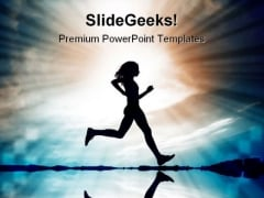 Running Silhouete Beach PowerPoint Templates And PowerPoint Backgrounds 0411