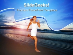 Running Woman Beach PowerPoint Templates And PowerPoint Backgrounds 0611