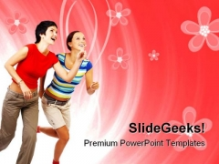 Running Women Success PowerPoint Themes And PowerPoint Slides 0811