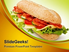Salami Submarine Sandwich Food PowerPoint Templates And PowerPoint Backgrounds 0211