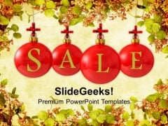Sale Baubles On Christmas Winter Background PowerPoint Templates Ppt Backgrounds For Slides 1112