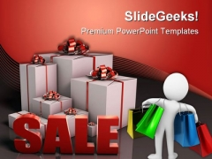 Sale Sign With Gift Boxes Shopping Lifestyle PowerPoint Templates And PowerPoint Backgrounds 0511