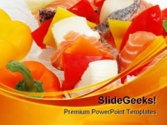 Salmon Kabob Food PowerPoint Templates And PowerPoint Backgrounds 0211