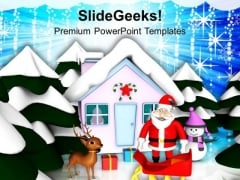 Santa Claus And Sleigh Christmas Theme PowerPoint Templates Ppt Backgrounds For Slides 1212