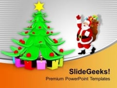 Santa Claus Dancing Around Christmas Tree PowerPoint Templates Ppt Backgrounds For Slides 1212