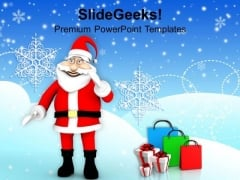 Santa Claus Giving Gifts On Christmas Eve PowerPoint Templates Ppt Backgrounds For Slides 1212