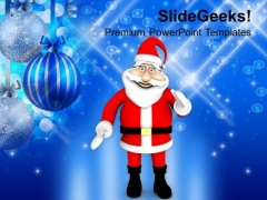 Santa Claus Standing On Christmas Background PowerPoint Templates Ppt Backgrounds For Slides 1212