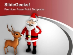 Santa Claus Wishing Christmas Festival PowerPoint Templates Ppt Backgrounds For Slides 0413