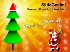 Santa Claus With Gifts And Christmas Tree PowerPoint Templates Ppt Backgrounds For Slides 1112