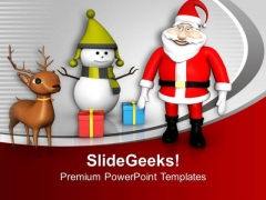 Santa Claus With Gifts Christmas Theme PowerPoint Templates Ppt Backgrounds For Slides 0113