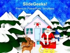 Santa Claus With Reindeer Christmas Eve PowerPoint Templates Ppt Backgrounds For Slides 1212
