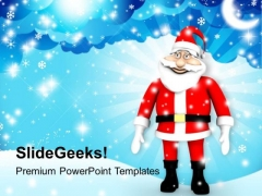 Santa Clause In Snowfall PowerPoint Templates Ppt Backgrounds For Slides 1212