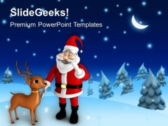 Santa Clause With Reindeer Night Theme PowerPoint Templates Ppt Backgrounds For Slides 0413
