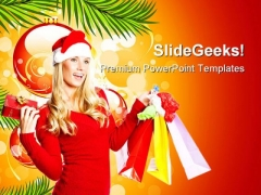 Santa Girl With Shopping Bags Festival PowerPoint Templates And PowerPoint Backgrounds 0411