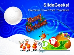 Santa Sleigh Christmas PowerPoint Templates And PowerPoint Backgrounds 0711