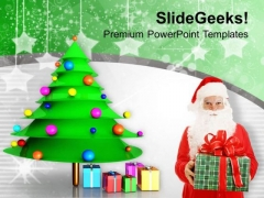 Santa With Christmas Gifts Party Time PowerPoint Templates Ppt Backgrounds For Slides 0113