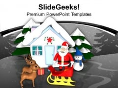 Santa With Reindeer Snowman Hut Work PowerPoint Templates Ppt Backgrounds For Slides 0113