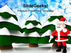 Santa With Snow Pine Tree Holidays PowerPoint Templates Ppt Backgrounds For Slides 1212