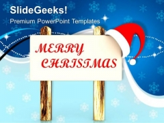 Santas Message On Wooden Board Christmas PowerPoint Templates Ppt Backgrounds For Slides 1212