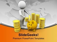 Save A Part Of Earning Saving Money Theme PowerPoint Templates Ppt Backgrounds For Slides 0413