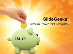 Save Money In Piggy Bank Security PowerPoint Templates Ppt Backgrounds For Slides 0313