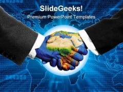 Saving The Planet Handshake PowerPoint Templates And PowerPoint Backgrounds 0811