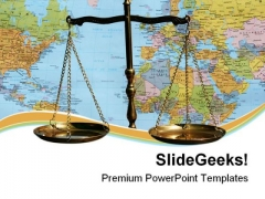 Scales And World Map Law PowerPoint Templates And PowerPoint Backgrounds 0711