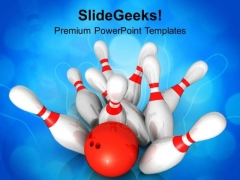 Scattered Skittle And Bowling Ball Competition PowerPoint Templates Ppt Backgrounds For Slides 0313
