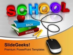 School Connected To Mouse Online Education PowerPoint Templates Ppt Backgrounds For Slides 0313