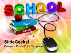 School With Computer Mouse Education Concept PowerPoint Templates Ppt Backgrounds For Slides 0113
