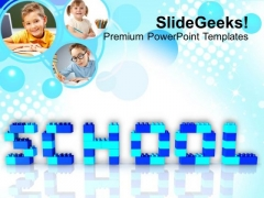School Word With Lego Blocks Education PowerPoint Templates Ppt Backgrounds For Slides 0113