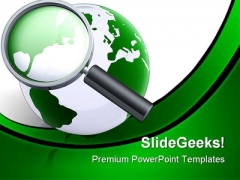 Searching The World Globe PowerPoint Templates And PowerPoint Backgrounds 0411