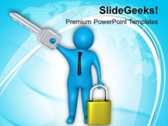 Secure Solutions Key And Lock PowerPoint Templates Ppt Backgrounds For Slides 0813