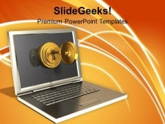 Secured Laptop And Information Technology PowerPoint Templates Ppt Backgrounds For Slides 0113
