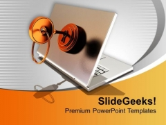 Secured Laptop Technology PowerPoint Templates Ppt Backgrounds For Slides 0213