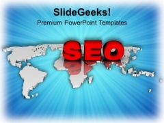 Seo On World Map PowerPoint Templates Ppt Backgrounds For Slides 0713