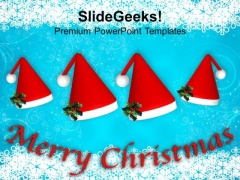 Set Of Red Santa Hats Celebrating Christmas PowerPoint Templates Ppt Backgrounds For Slides 1112