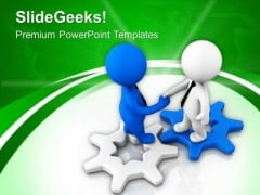 Shake Hands On Gear Process PowerPoint Templates Ppt Backgrounds For Slides 0713