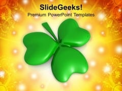 Shamrock 3 Cover Leaf Patricks Day PowerPoint Templates Ppt Backgrounds For Slides 0313