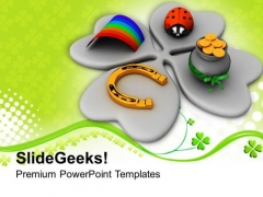 Shamrock And Four Symbols Of St Patricks Day PowerPoint Templates Ppt Backgrounds For Slides 0313
