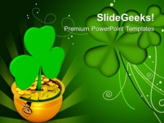 Shamrock With Gold Coins Green Background PowerPoint Templates Ppt Backgrounds For Slides 0313